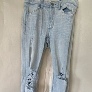 Distressed high waisted acid wash jeans